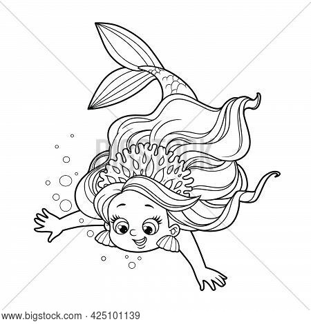 Cute Little Mermaid Girl In Coral Tiara Dives Down Outlined For Coloring Page Isolated On White Back