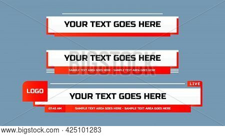 Modern Lower Third Design Template. Set Of Tv Banners And Bars For News And Sport Channel, Streaming