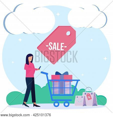 Shopping Vector Illustration. Buying And Selling Concept. The Female Character And Trolley Are Many