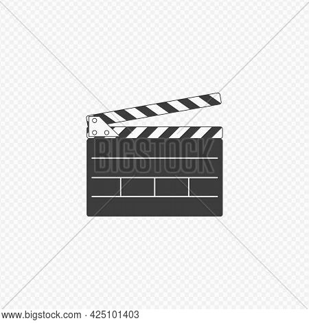 Simple Clapper Board Icon. Opened Movie Film Clap Board Isolated On Transparent Background. Template