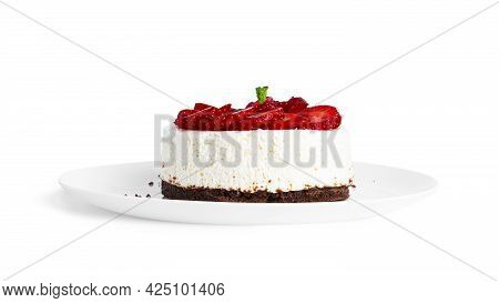 Cheesecake With Strawberry Isolated On A White Background. Cheesecake On Plate.