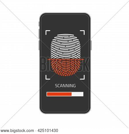 Realistic Smartphone Mock Up And Fingerprint Scanning On Screen. Id Security, Personal Access Via Fi