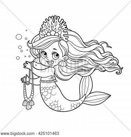 Cute Little Mermaid Girl In Coral Tiara Hold A Long Pearl Necklace Outlined For Coloring Page Isolat