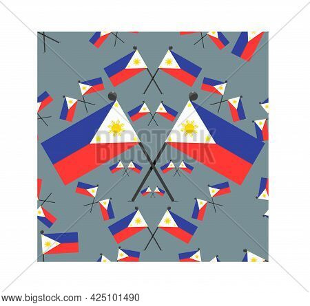 Vector Illustration Of Pattern Philippines Flags And Blue Colors Background.