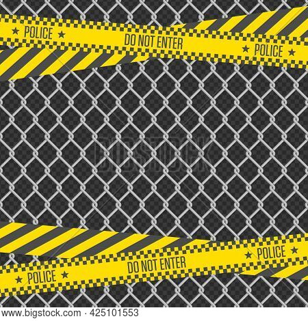 Metal Chain Link Fence And Police Tape On Transparent Background. Wired Fence Pattern In Shades Of G