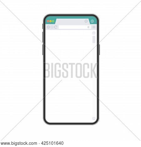 Smart Phone Mockup With Blank Web Browser Window. Realistic Black Mobile Phone With Empty Browser On
