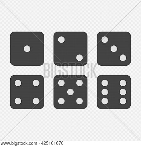 Dice Vector Icons. Six Simple Dice For Game, Modern Rounded Shape. Modern Flat Style Illustration. E