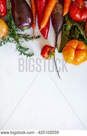 Flat Lay Of Assortment Of Fresh Vegetables, Bio Healthy, Organic Food
