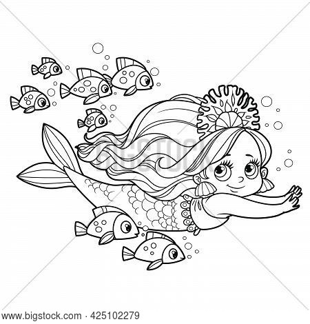 Cute Little Mermaid Girl In Coral Tiara Swims With A Flock Of Fish Outlined For Coloring Page Isolat