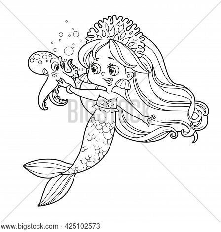 Cute Little Mermaid Girl In Coral Tiara Talks With A Small Octopus Outlined For Coloring Page Isolat