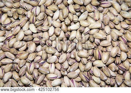 Pistachio Nuts Are White And Gray In Color With Open Shells. Fruits Nuts Vegetables Berries Useful P