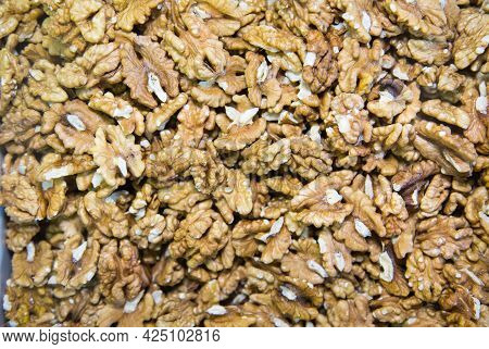 Walnuts (latin Juglans Regia) Peeled Brown And Yellow. Fruits Nuts Vegetables Berries Useful Product