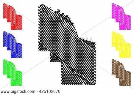 Iron County, State Of Wisconsin (u.s. County, United States Of America, Us) Map Vector Illustration,