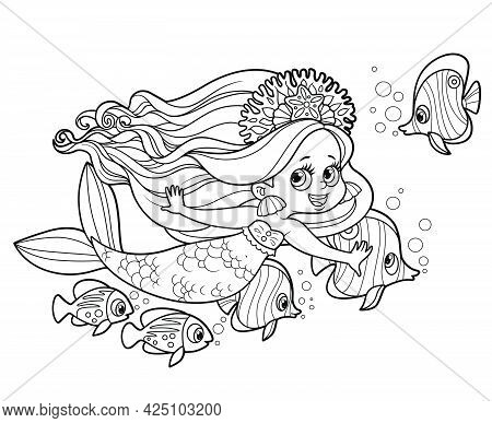 Cute Little Mermaid Girl Swimming With A Flock Of Fish Nearby Outlined For Coloring Page Isolated On