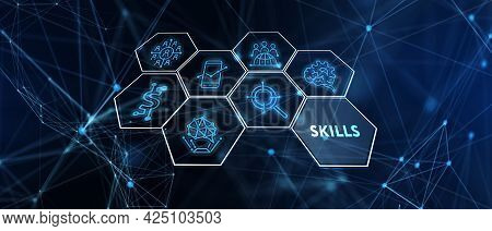 Business, Technology, Internet And Network Concept. Skill Knowledge Ability. 3d Illustration