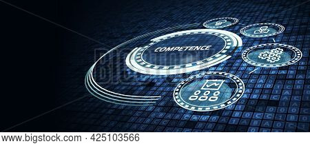 Business, Technology, Internet And Network Concept. Competence Skill Personal Development.3d Illustr