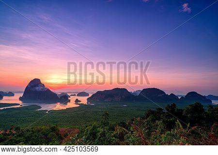 Mountain View Sunrise Of Phang Nga Bay At Samet Nang She Viewpoint, Phang Nga, Thailand.