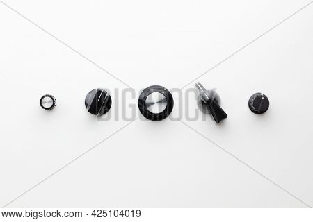 Control knobs. User interface design concept image. Variations of rotary knobs on neutral white background.