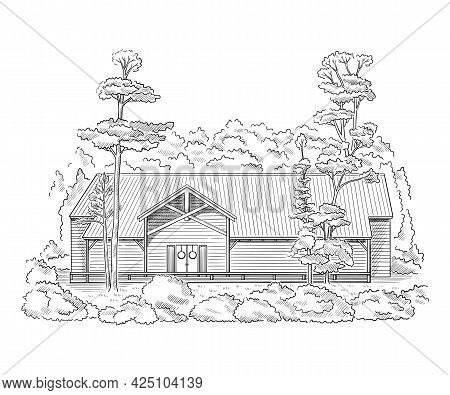 Vector Illustration With Style Mansion, Country Estate. Historic Building Sketch.