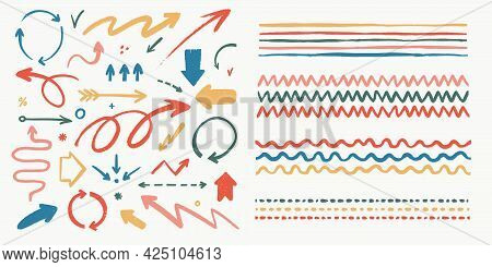 Abstract Arrows And Brushes Set. Various Doodle Arrows And Art Strokes With Grunge Texture. Hand-dra