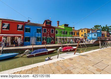 Burano, Italy - June 2, 2021: Burano Island In The Venice Lagoon With Multicolored Houses, Souvenir