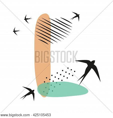 Minimalistic Pattern An Oriental Style In Form Of Letter L. Flock Of Swallows Flies. Abstract Object