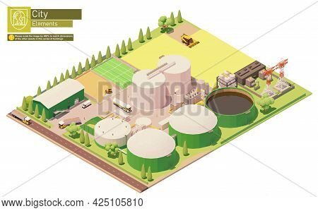 Vector Isometric Biogas Power Plant And Rapeseed Field