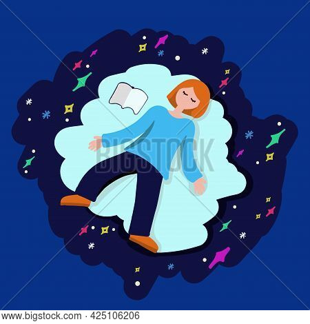 A Female Character In A Dream And Dreams. A Concept In A Flat Graph. The Girl Is Floating In The Clo