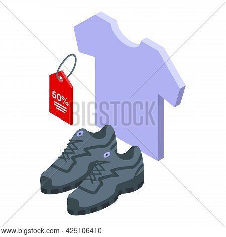 Sale Clothes Icon Isometric Vector. Shop Store Sale. Clothes Dress Online Market