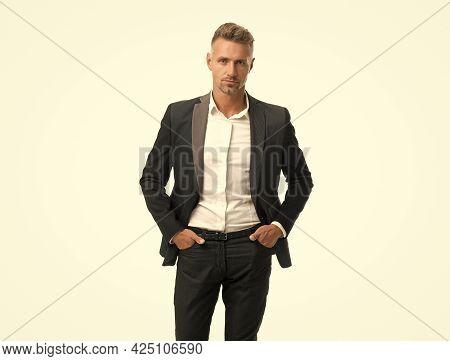 Building Stylish Wardrobe. Businessman Wear Suit Isolated On White. Capsule Wardrobe