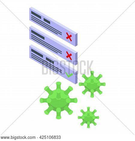 Corona Test Result Icon Isometric Vector. Positive Coronavirus Test. Covid Virus Result Tube