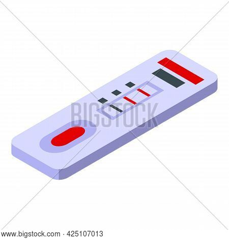Test Result Device Icon Isometric Vector. Blood Hiv Test. Doctor Glucose Result