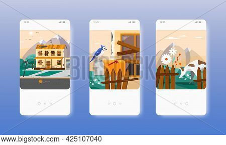 Abandoned Country House Building. Mobile App Screens, Vector Website Banner Template. Ui, Web Site D