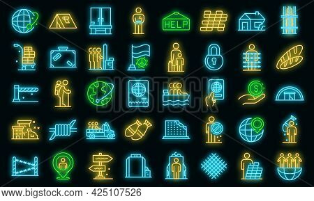 Illegal Immigrants Icons Set. Outline Set Of Illegal Immigrants Vector Icons Neon Color On Black