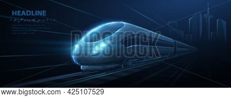 Fast Express Passenger Train On High Speed Intercity Railway Moving From City. Futuristic Technology