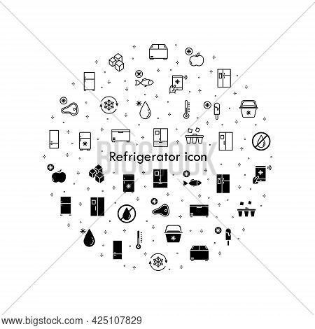 Refrigerator Flat Line Icons Set. Freezer, Cold Food Storage, Frige, Coolbox. Simple Flat Vector Ill