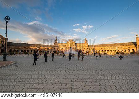 Seville, Spain - 08 April, 2019: The Plaza De Espana (