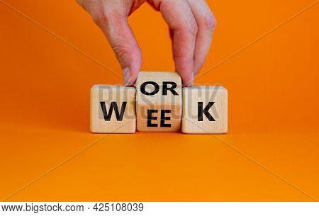 Work Week Symbol. Businessman Turns The Wooden Cube With Words 'work Week'. Beautiful Orange Backgro