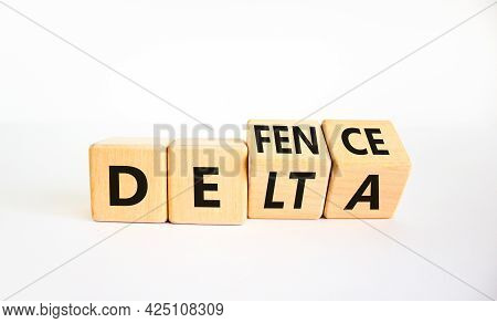 Covid-19 Delta Variant Strain Defence Symbol. Turned The Wooden Cube And Changed The Word Delta To D