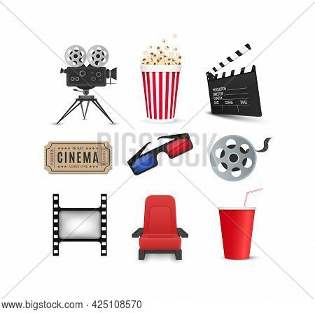 Cinema Icons Set Isolated On White Background. Film Industry Objects. Tickets, Popcorn, Film Strip,