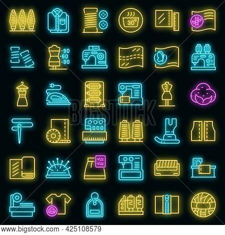 Textile Production Icons Set. Outline Set Of Textile Production Vector Icons Neon Color On Black