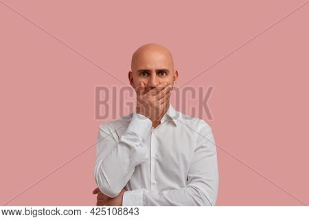 I Dont Want To Believe It. Disappointed Bald Man With Bristle, Covered Mouth With Hand, Shocked Info