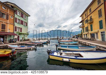 Castelletto Di Brenzone, Italy - May 16, 2020: Port Of The Small Village Of Castelletto Di Brenzone,