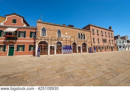 Burano, Italy - June 2, 2021: The Lace Museum In Burano Island. Famous Lace School From 1872 To 1970