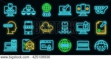Multi-factor Authentication Icons Set. Outline Set Of Multi-factor Authentication Vector Icons Neon