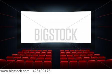 Movie Cinema Premiere Poster Design With White Screen. Cinema Screen. Movie Theater Vector Backgroun