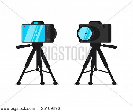 Slr Camera On Tripod Stand Front And Back View Set. Digital Photocamera On Rack. Videographer Or Pho