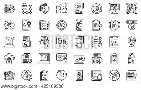 Privacy Policy Icons Set Outline Vector. Gdpr Safety Standard. Europe Data Secure