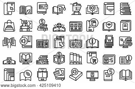 Online Bookstore Icons Set Outline Vector. Open Book Magazine. Author Library