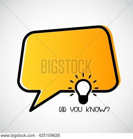 Did You Know With Hanging Bulb. Did You Know Banner For Education, Business, Advertising. Eps 10